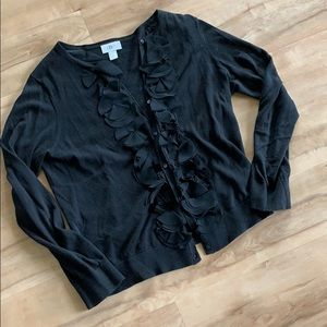 Loft black floral edge cardigan